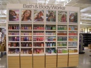 AAFES Bath & Body Works display