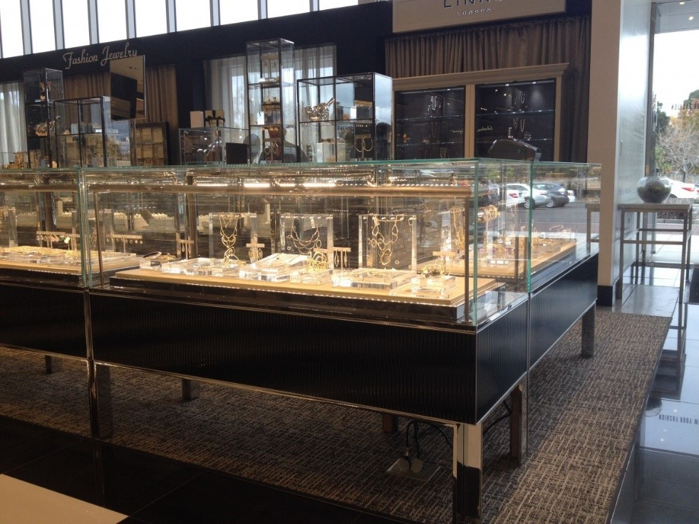 Jewelry display cases at Bloomingdale's by Display Craft Manufacturing
