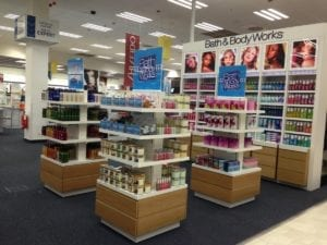 Bath & Body works displays